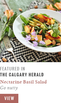 Feature // Nectarine Basil Salad with Pineapple Balsamic Vinaigrette | Go Nutty | Calgary Herald Gastropost // JustineCelina.com
