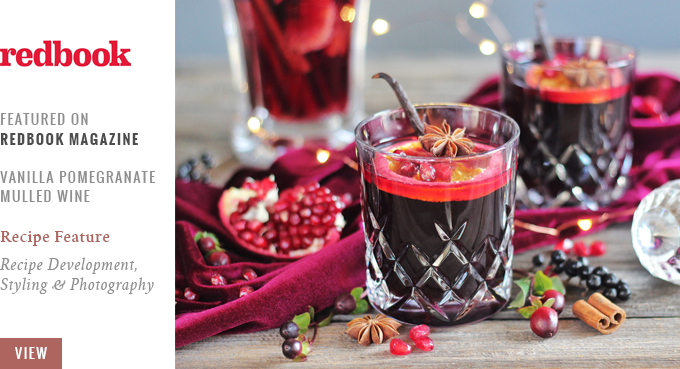 Vanilla Pomegranate Mulled Wine featured on Redbook Magazine // JustineCelina.com