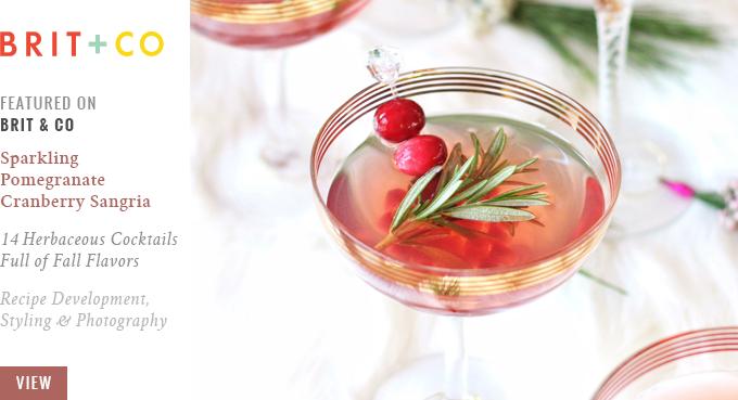 Featured on Brit + Co // Sparkling Pomegranate Cranberry Sangria   14 Herbaceous Cocktails Full of Fall Flavors // JustineCelina.com