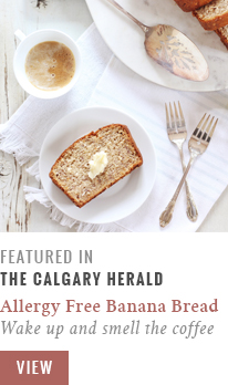 Allergy Free Aloha Banana Bread featured in The Calgary Herald // JustineCelina.com