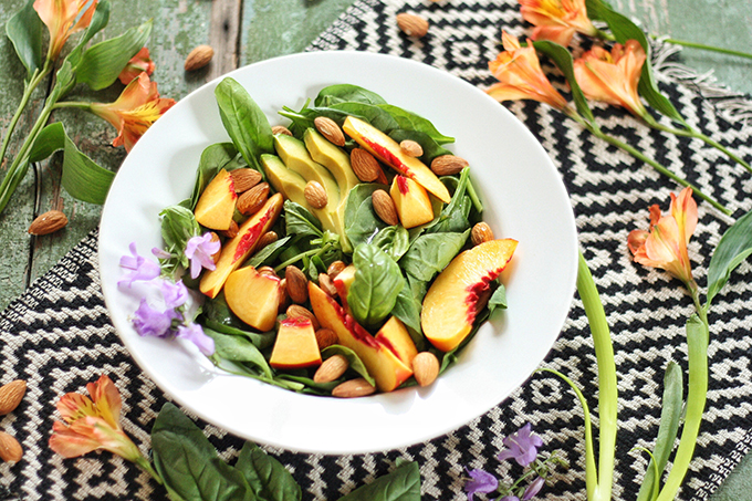 Nectarine Basil Salad with Pineapple Balsamic Vinaigrette // JustineCelina.com