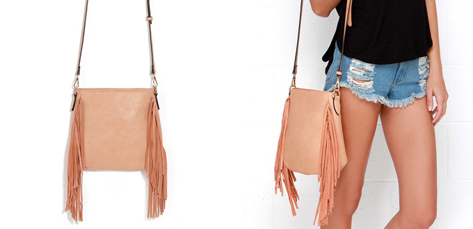 For the Frill of It Peach Fringe Purse