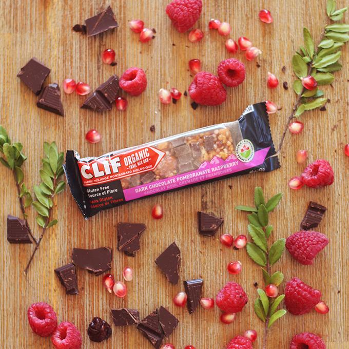 Clif Dark Chocolate Pomegranate Raspberry Organic Trail Mix Bar Review // JustineCelina.com