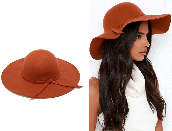 Colour Crush | Rust | Cascade Effect Rust Orange Floppy Hat Lulu*s // JustineCelina.com