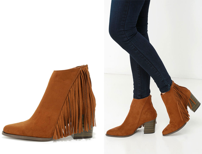 Colour Crush   Rust   Country Glamour Dark Rust Fringe Booties Lulu*s // JustineCelina.com