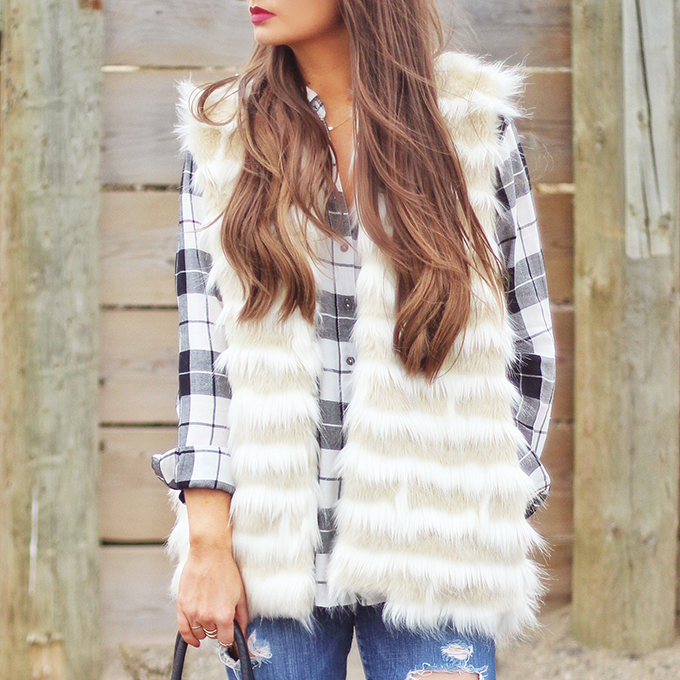 Faux Fur + Distressed Denim // JustineCelina.com