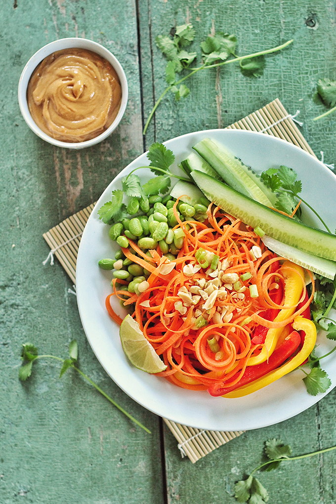 Tangled Thai Salad with Ginger Peanut Sauce // JustineCelina.com
