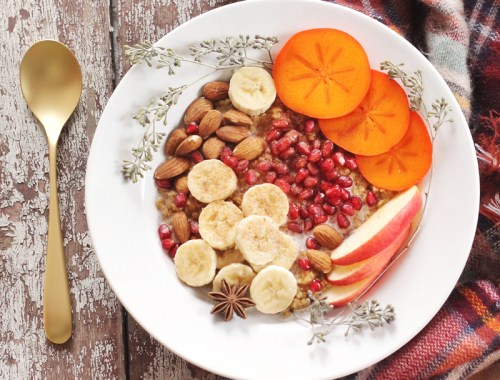 Winter Breakfast Bowl with Pumpkin Spice Steel Cut Oats // JustineCelina.com