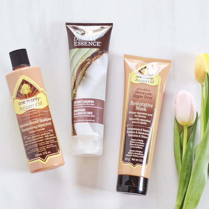 Desert Essence Organics Coconut Shampoo, One 'n Only Argan Oil Moisture Repair Shampoo, One 'n Only Argan Oil Restorative Mask Photos, Review // JustineCelina.com