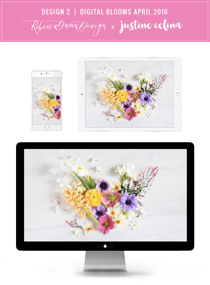Digital Blooms Desktop Wallpaper Download 2 | April 2016 // JustineCelina.com x Rebecca Dawn Design