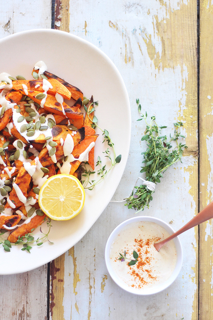 Roasted Sweet Potato Fries with Lemon Tahini Sauce // JustineCelina.com