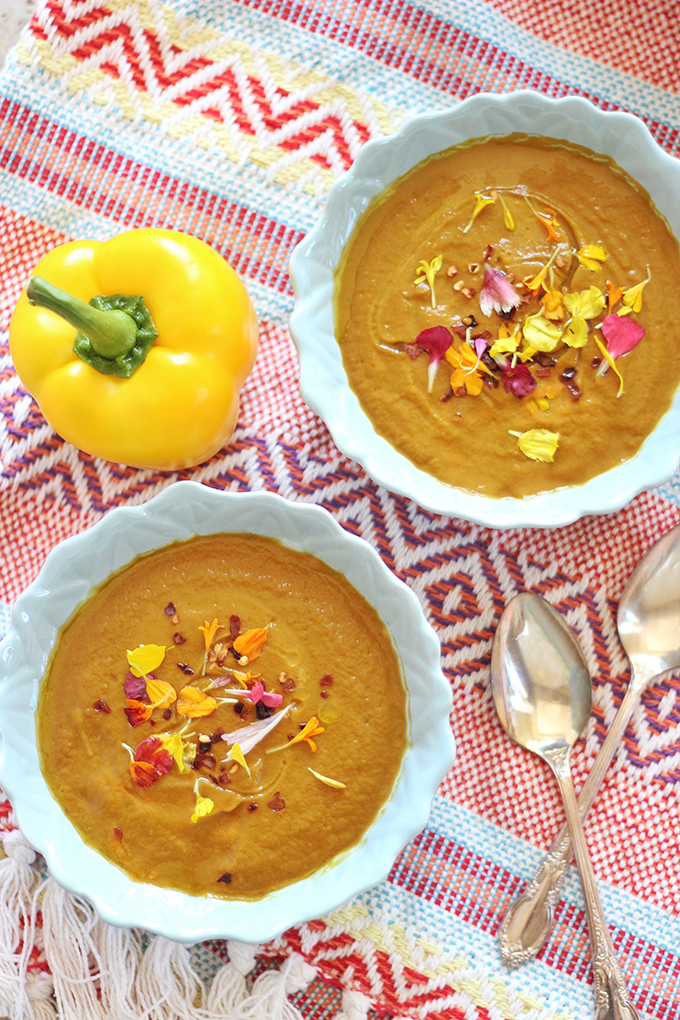 Rainbow Carrot & Yellow Pepper Soup // JustineCelina.com