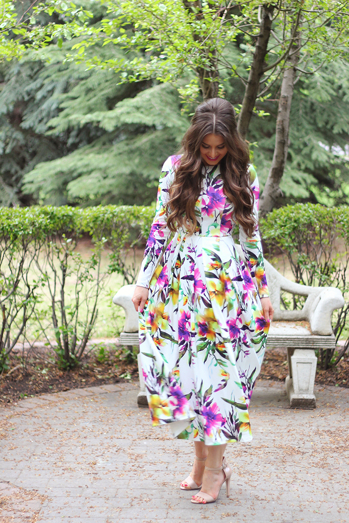 What to Wear to a Spring Wedding | SheIn Muiticolour Long Sleeve Flowery Floral Pastel Dress // JustineCelina.com