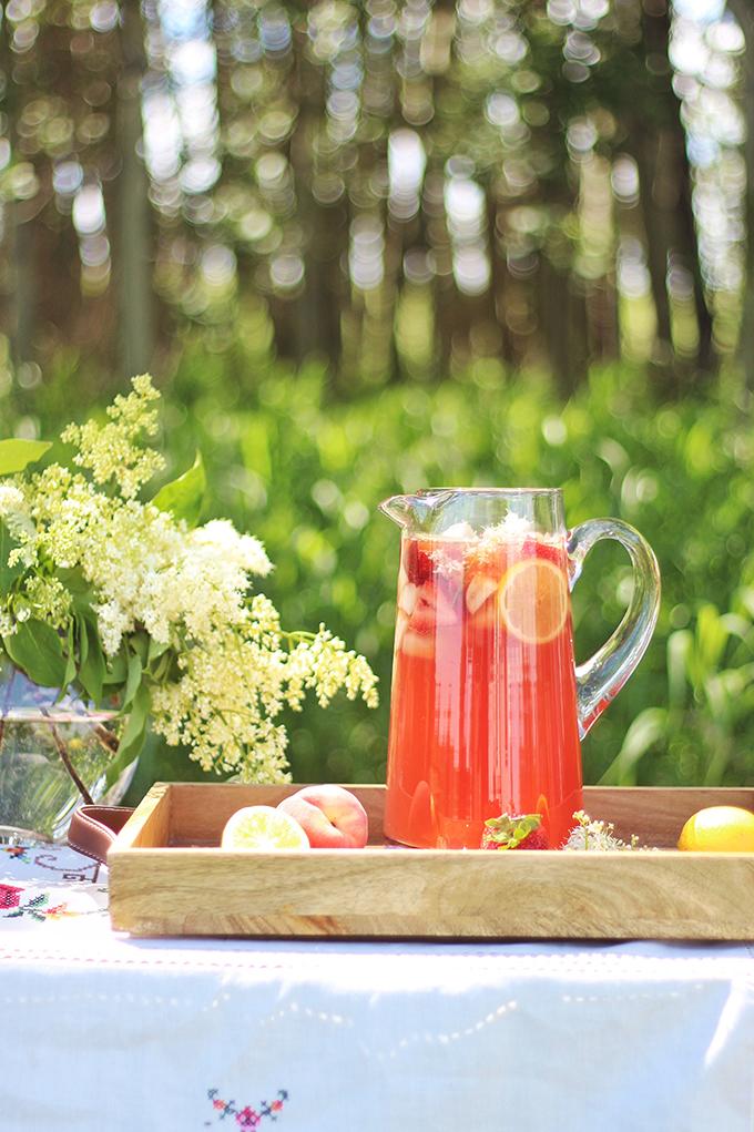 Rosé Lychee Elderflower Sangria // JustineCelina.com