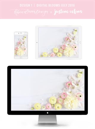 Digital Blooms Desktop Wallpaper 1   July 2016 // JustineCelina.com x Rebecca Dawn Design