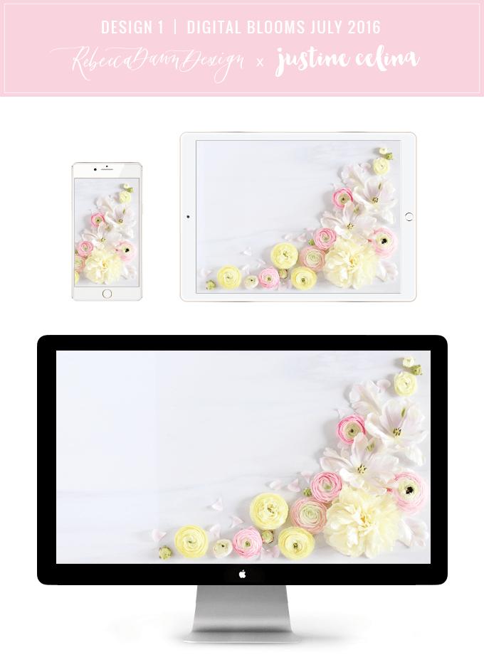 Digital Blooms Desktop Wallpaper 1 | July 2016 // JustineCelina.com x Rebecca Dawn Design