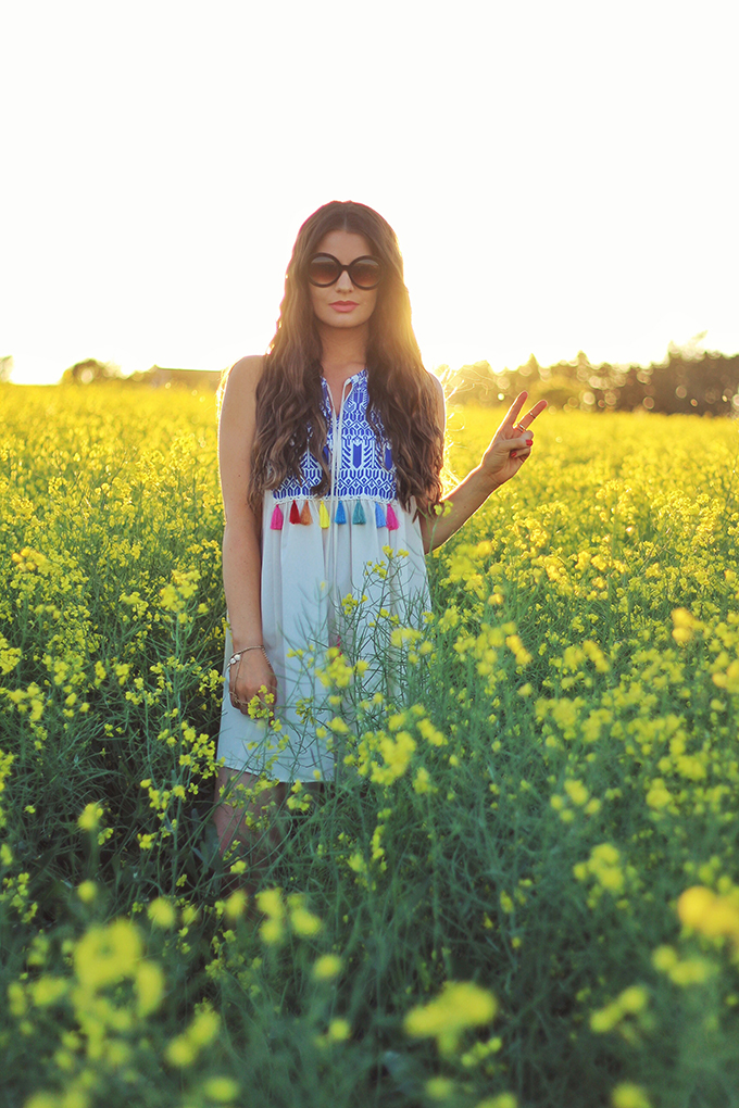 Here Comes the Sun | Carefree Summer Style in a Canola Field | Oversized 60's Sunglasses | Calgary Fashion Blogger // JustineCelina.com