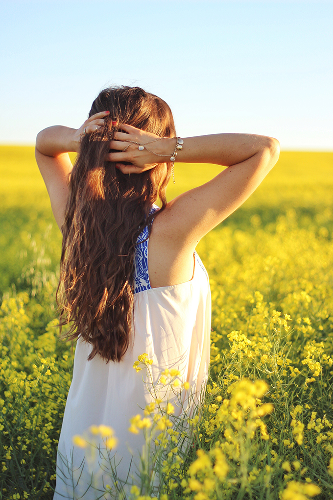 Here Comes the Sun | Carefree Summer Style in a Canola Field | Bohemian Summer Hairstyle with a Deep Waver | Calgary Fashion Blogger // JustineCelina.com