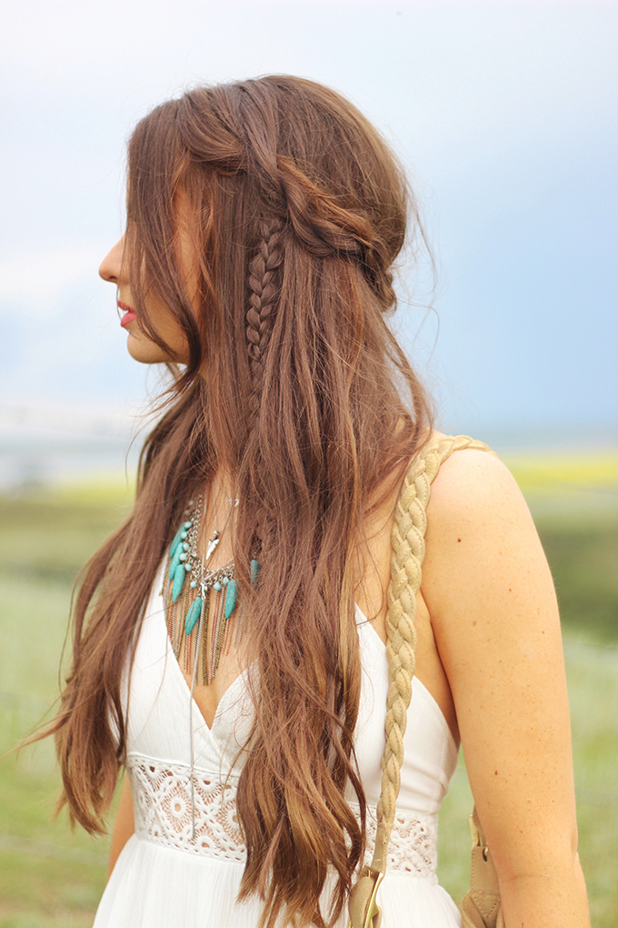 What to Wear to | The Calgary Stampede | Bohemian, braided, undone hairstyle by Dawn Bradley Hair // JustineCelina.com