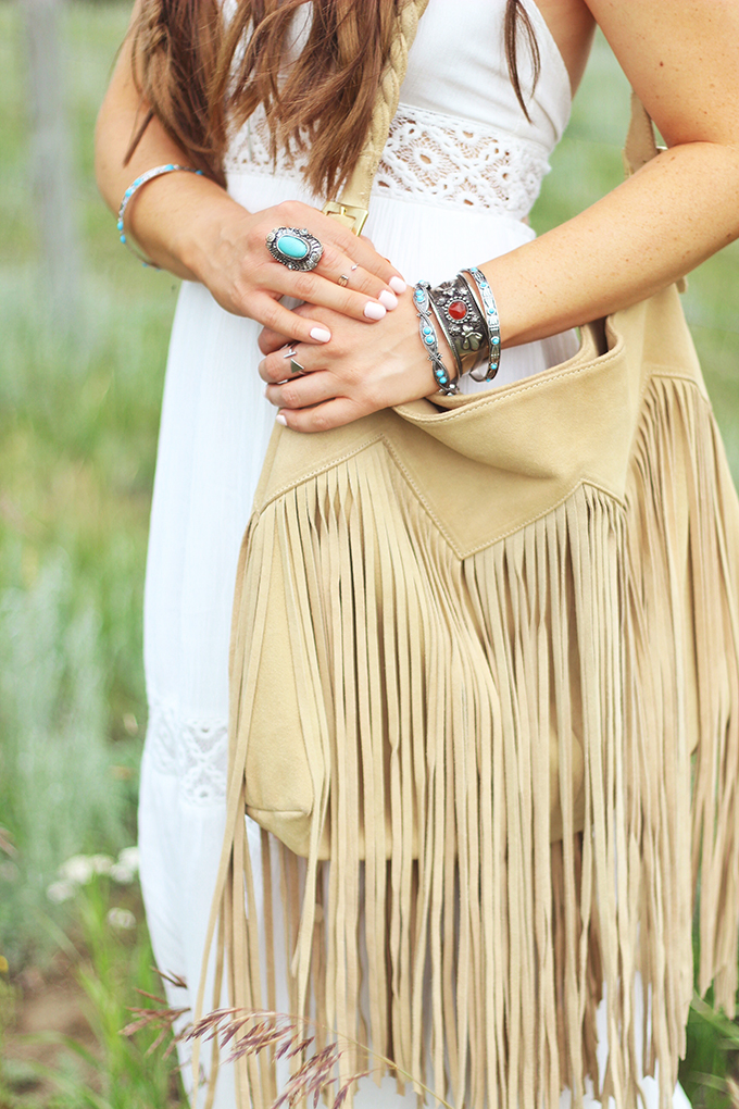 What to Wear to | The Calgary Stampede | Suede Fringe Bag with Turquoise and Stone Silver Jewellery // JustineCelina.com