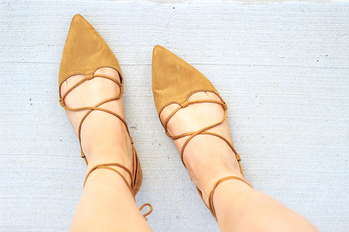 Shoes of Summer + End of Season Sales | Lace Up Flats // JustineCelina.com