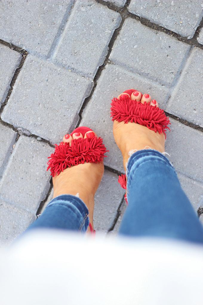 Summer 2016 Trend Highlights | Steve Madden Sassey Sandal in Red Suede // JustineCelina.com