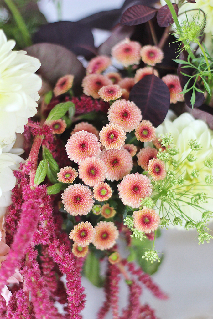 An Introduction to Autumn Flowers | Autumn Arrangement with Salmon Chrysanthemums // JustineCelina.com x Rebecca Dawn Design