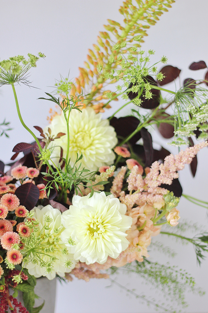 An Introduction to Autumn Flowers | Autumn Arrangement with Cream Dahlias // JustineCelina.com x Rebecca Dawn Design