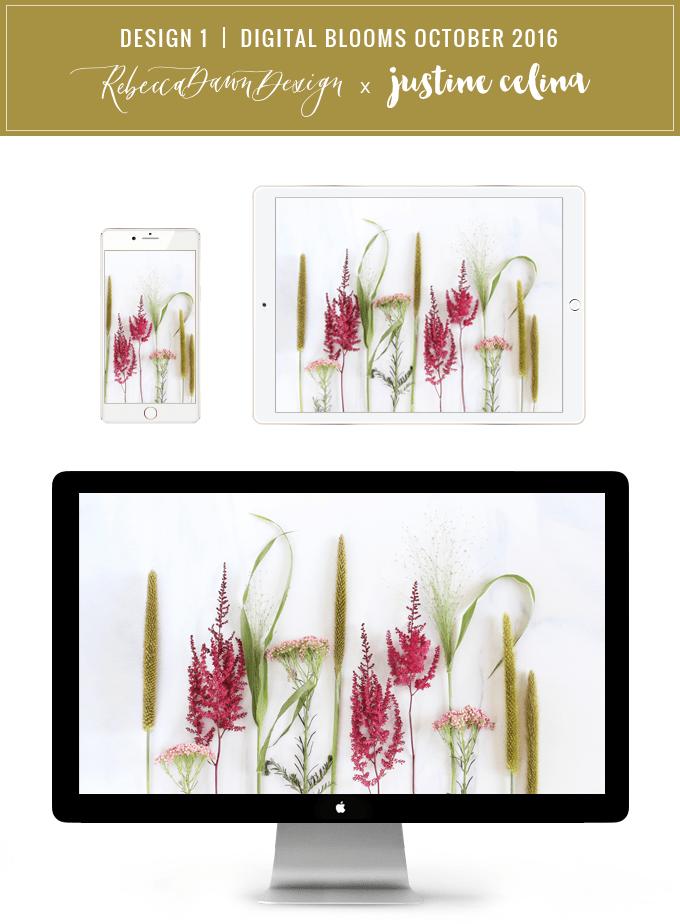 Digital Blooms Desktop Wallpaper 1 | October 2016 // JustineCelina.com x Rebecca Dawn Design