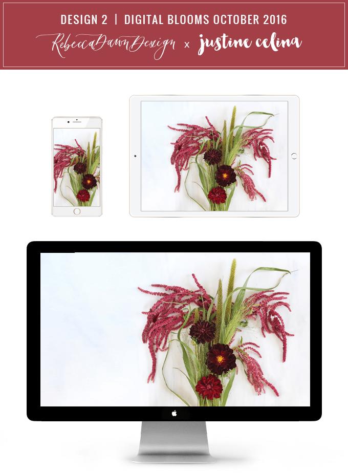Digital Blooms Desktop Wallpaper 2 | October 2016 // JustineCelina.com x Rebecca Dawn Design