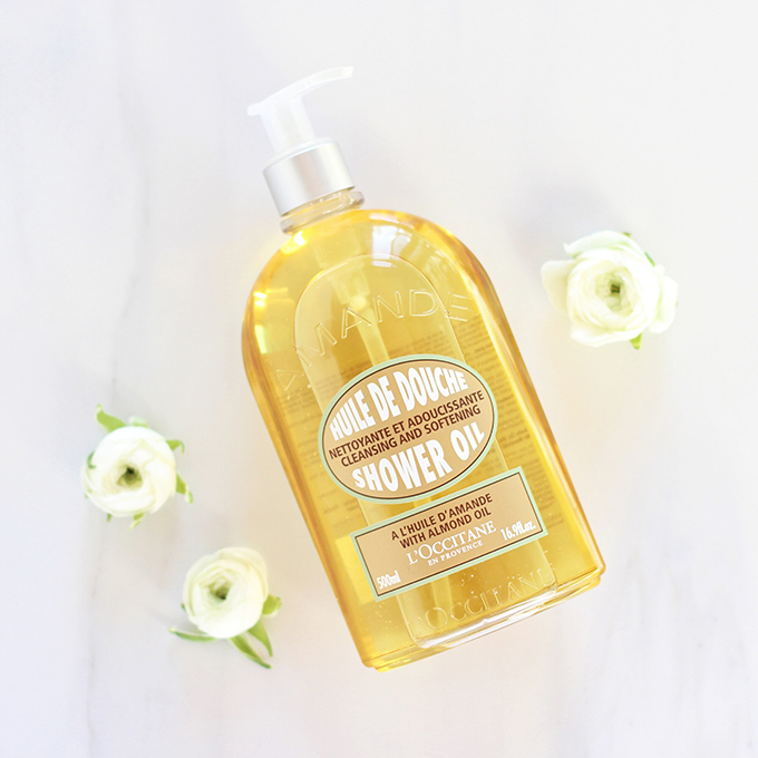L'Occitane Cleansing And Softening Shower Oil With Almond Oil Photos, Review | December 2016 Beauty Favourites // JustineCelina.com
