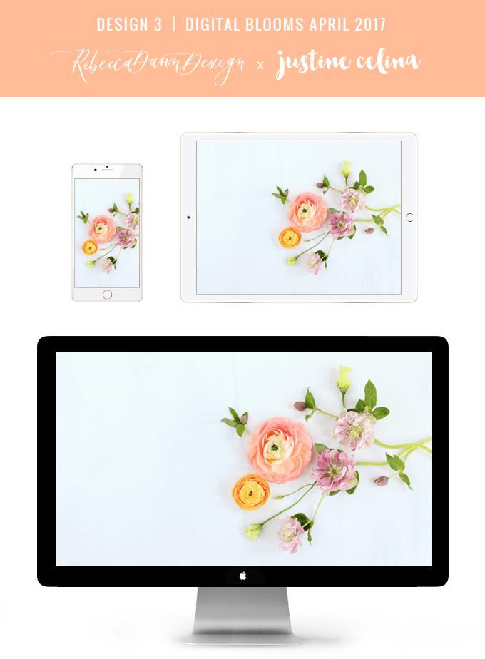 Digital Blooms April 2017 | Free Desktop Wallpapers + Digital Blooms Turns 1! // JustineCelina.com x Rebecca Dawn Design | Design 3
