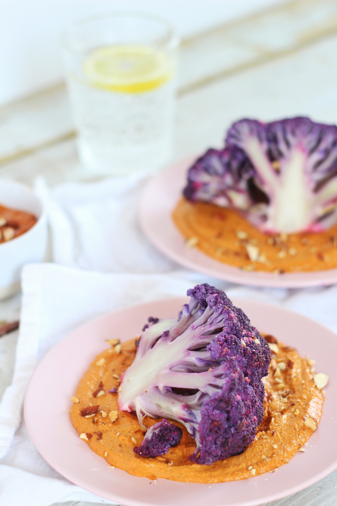 ProcessRoasted Purple Cauliflower with Red Pepper Romesco | Wild Rose D-Tox Friendly! // JustineCelina.com