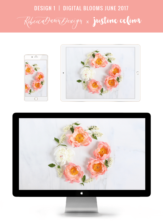 Digital Blooms June 2017 | Free Desktop Wallpapers | Design 1 // JustineCelina.com x Rebecca Dawn Design