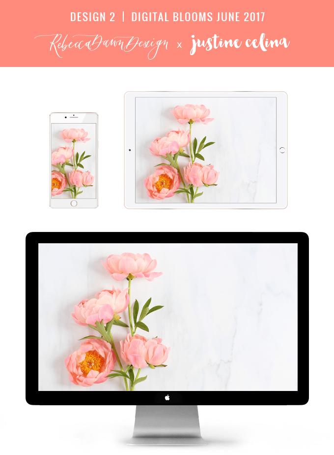 Digital Blooms June 2017 | Free Desktop Wallpapers | Design 2 // JustineCelina.com x Rebecca Dawn Design