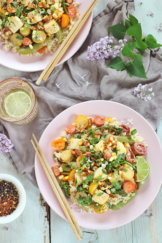 Spring Vegetable Stirfry with Coconut Ginger Tofu (Wild Rose D-Tox Friendly!) // JustineCelina.com