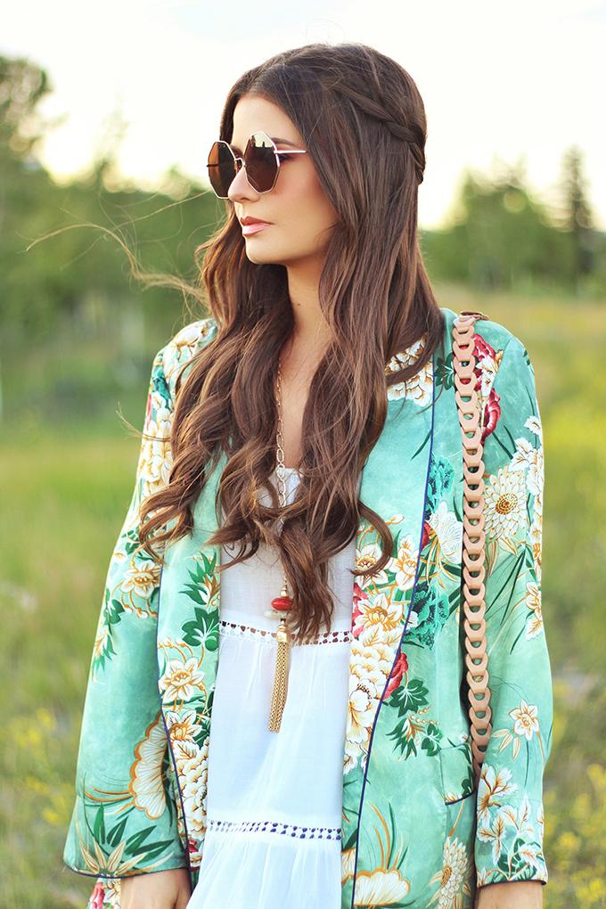 Summer 2017 Trend Guide | Kimono Love | Metal Hexagon Sunglasses // JustineCelina.com