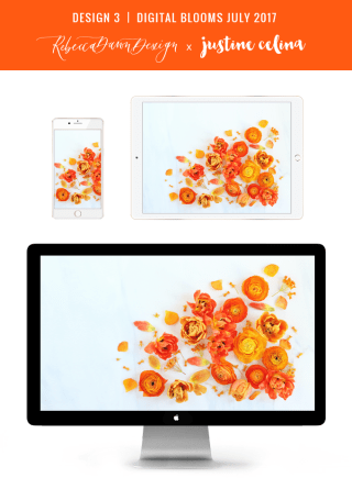 Digital Blooms July 2017 | Free Desktop Wallpapers | Design 3 // JustineCelina.com x Rebecca Dawn Design