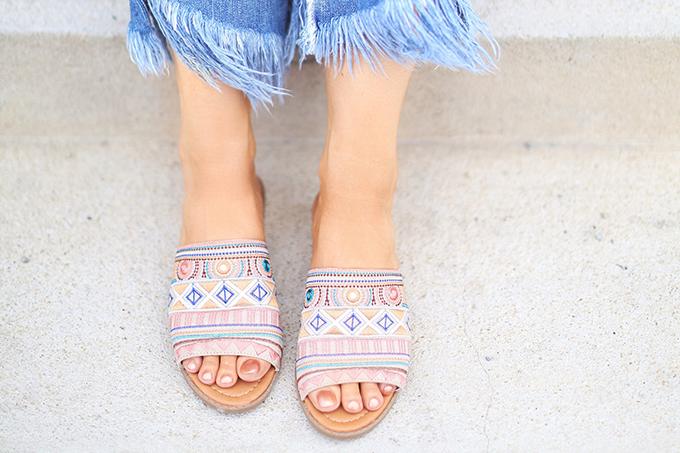 SUMMER 2017 MEGA SHOE GUIDE | 30 PAIRS! | Kamala Beige Embroidered Slide Sandals // JustineCelina.com