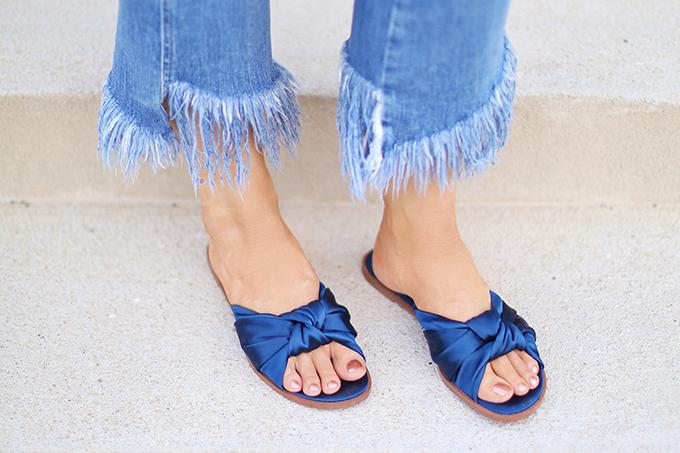 SUMMER 2017 MEGA SHOE GUIDE | 30 PAIRS! | Zara Satin Bow Slides in Blue // JustineCelina.com