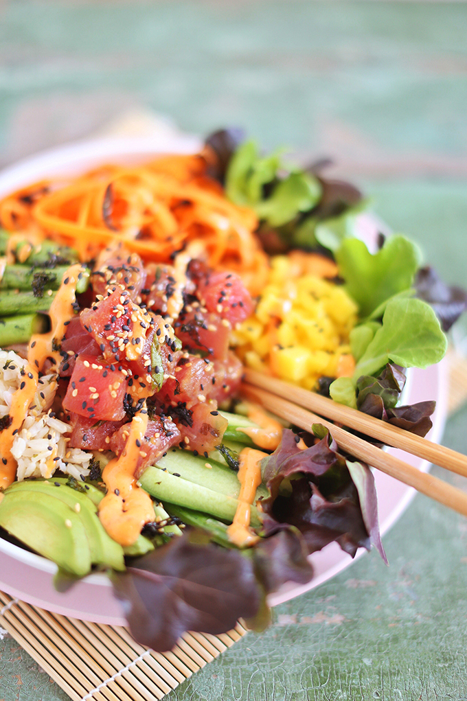 Ahi Tuna Poke Bowl with Citrus Ponzu & Sriracha Aioli | #sponsored by Inspired Greens #dairyfree #glutenfree #sustainable // JustineCelina.com