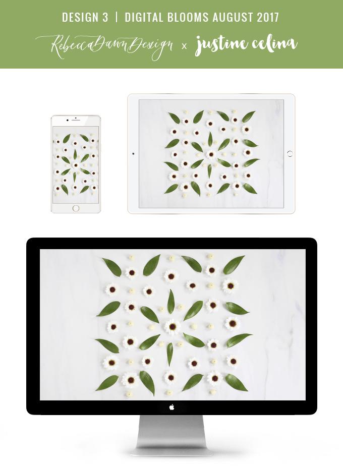 Digital Blooms August 2017 | Free Desktop Wallpapers | Design 3 // JustineCelina.com x Rebecca Dawn Design