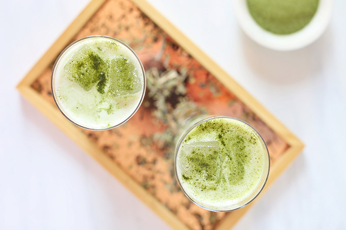 Iced Coconut Ginger Matcha Lattes | #Sponsored by Kiwami Greens // JustineCelina.com #vegan #glutenfree #refinedsugarfree