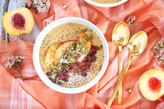 Superfood Peach Pie Smoothie Bowls // JustineCelina.com