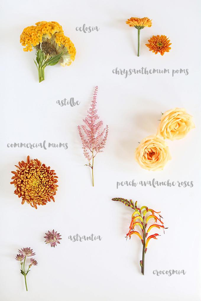 The Most Beautiful Autumn Arrangement, Ever | Arrangement Flowers: Peach Avalanche Roses, Celosia, Commercial Mums, Chrysanthemum Poms, Astible, Crocosmia, Astrantia // JustineCelina.com x Rebecca Dawn Design
