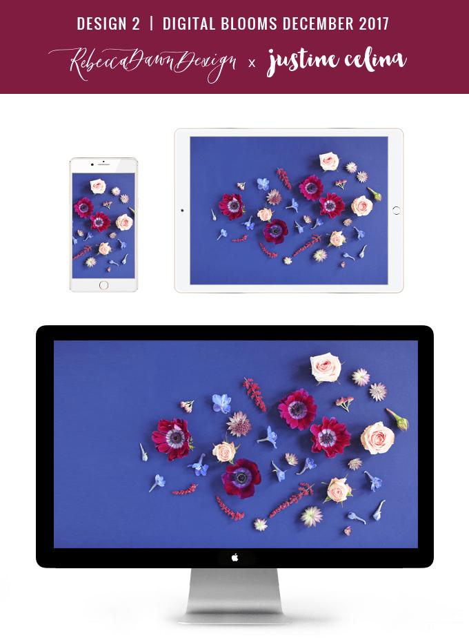 Digital Blooms December 2017   Free Desktop Wallpapers   Design 2 // JustineCelina.com x Rebecca Dawn Design