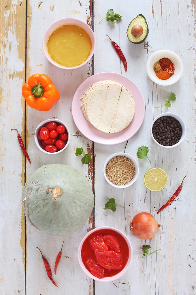 Vegan Slow Cooker Tortilla Soup with Winter Squash | Ingredients // JustineCelina.com