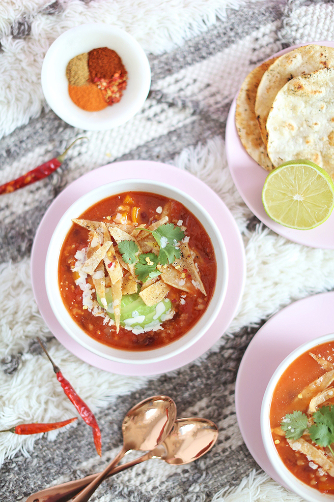 Vegan Slow Cooker Tortilla Soup with Winter Squash // JustineCelina.com