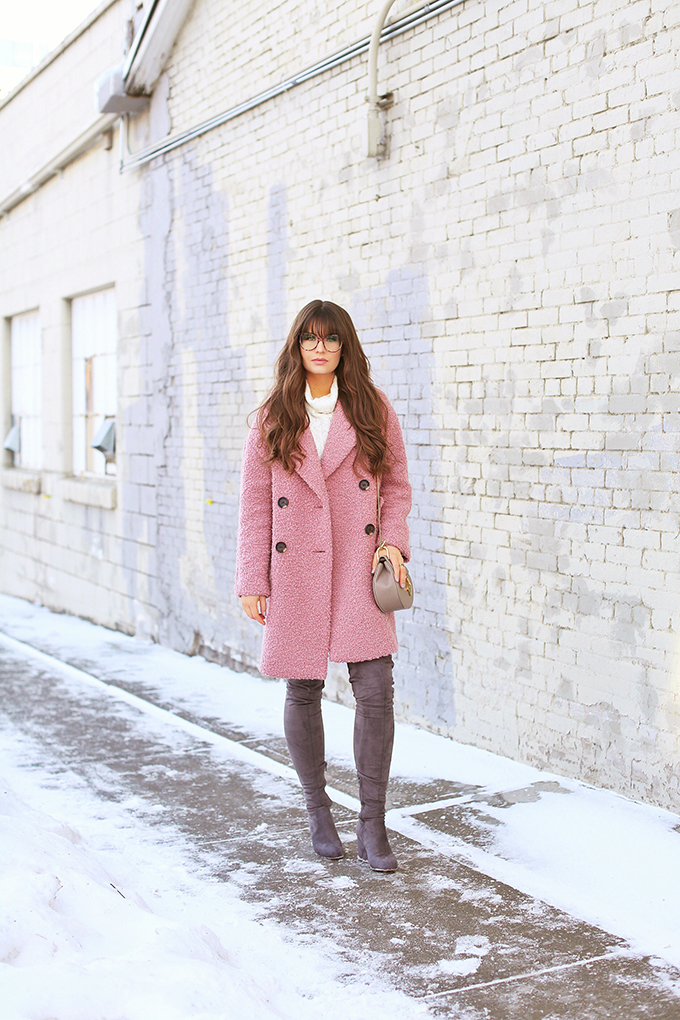 Blush Crush | How to Style Millennial Pink & Blush Hues | Winter / Spring 2018 | Topshop Alicia Boucle Wool Blend Coat Pink // JustineCelina.com