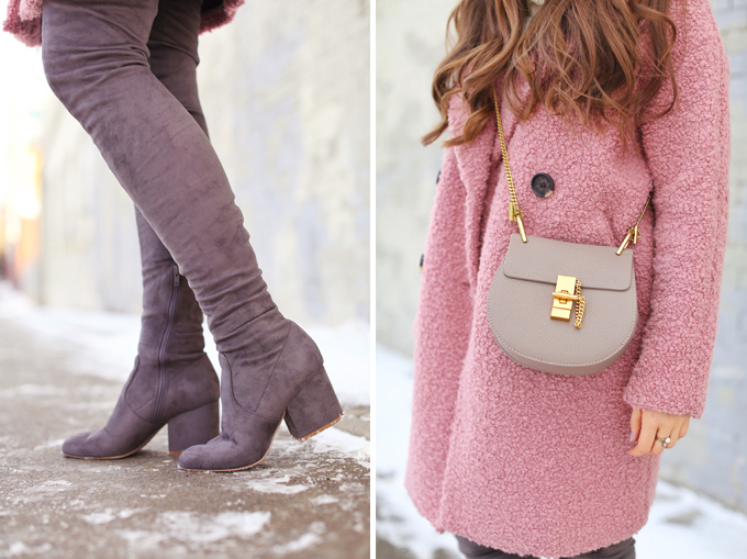 Blush Crush | How to Style Millennial Pink & Blush Hues | Winter / Spring 2018 | Topshop Alicia Boucle Wool Blend Coat Pink | Best Chloe Drew Bag Dupes for Under $50 // JustineCelina.com